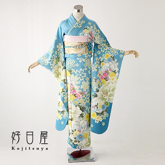 振袖 レンタル フルセット 正絹 着物 【レンタル】 結婚式 成人式 身長145-160cm 青 bl-005