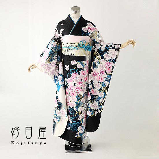 振袖 レンタル フルセット 正絹 着物 【レンタル】 結婚式 成人式 身長157-172cm 黒 bk-015