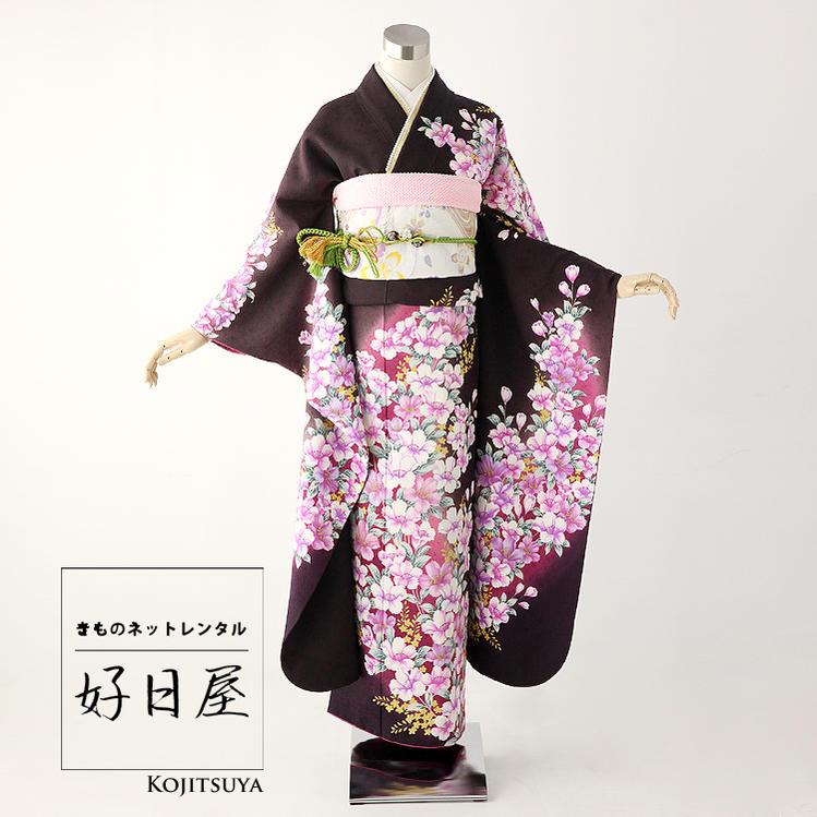 振袖 レンタル フルセット 正絹 着物 結婚式 成人式 身長149-164cm 茶 br-001-s