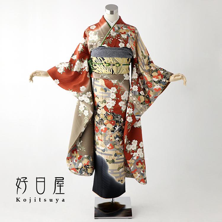 振袖 レンタル フルセット 正絹 着物 【レンタル】 結婚式 成人式 身長150-165cm 茶 br-003