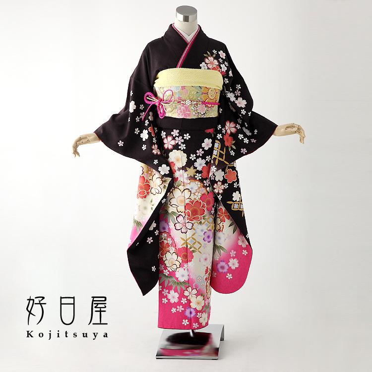 振袖 レンタル フルセット 正絹 着物 【レンタル】 結婚式 成人式 身長149-164cm 茶 br-004-s