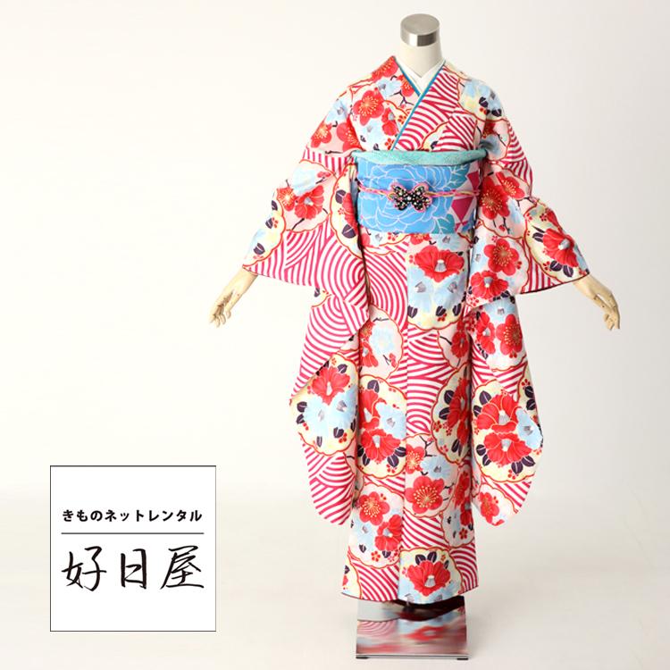 振袖 レンタル フルセット 正絹 着物 【レンタル】 結婚式 成人式 身長148-163cm 赤 re-032