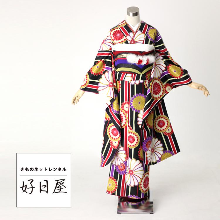 振袖 レンタル フルセット 正絹 着物 【レンタル】 結婚式 成人式 身長148-163cm 黒 bk-026
