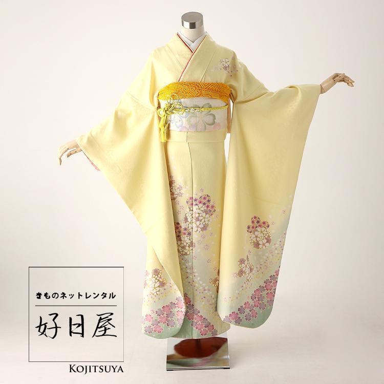 振袖 レンタル フルセット 正絹 着物 【レンタル】 結婚式 成人式 身長159-174cm 黄 ye-001-s
