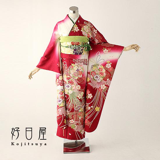 振袖 レンタル フルセット 正絹 着物 【レンタル】 結婚式 成人式 身長147-162cm 赤 re-025