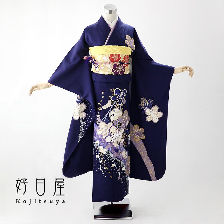振袖 レンタル フルセット 正絹 着物 【レンタル】 結婚式 成人式 身長145-160cm 青 bl-009