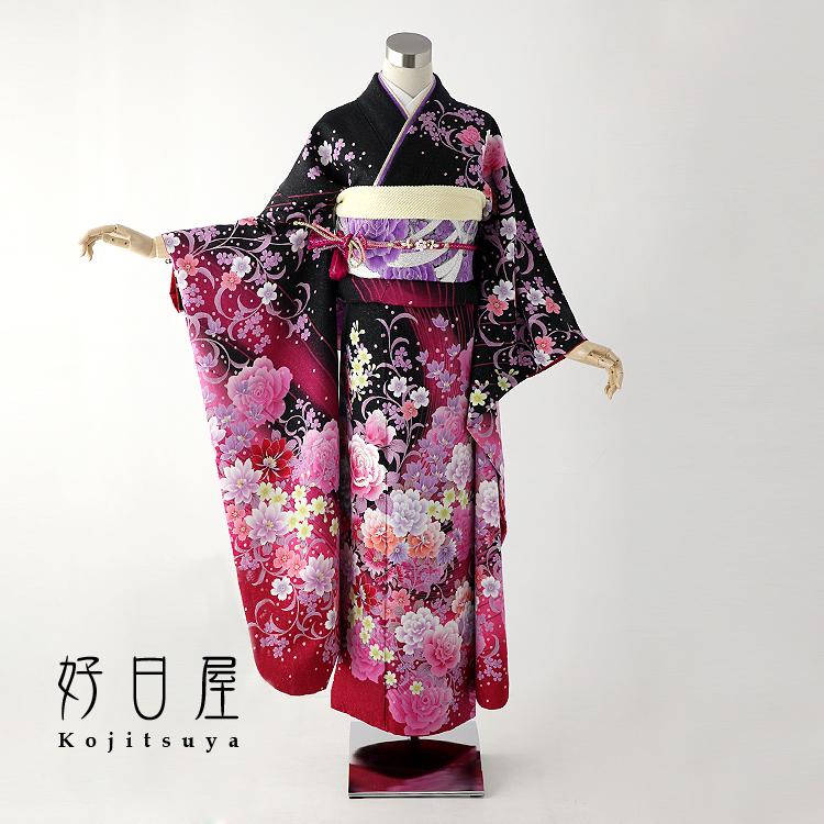 振袖 レンタル フルセット 正絹 着物 【レンタル】 結婚式 成人式 身長155-170cm 黒 bk-008-s