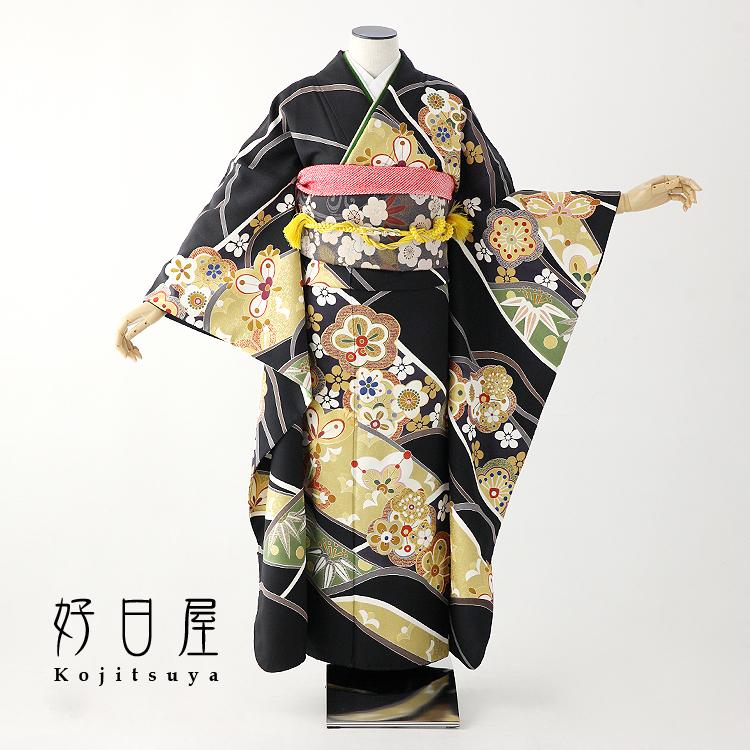 振袖 レンタル フルセット 正絹 着物 【レンタル】 結婚式 成人式 身長159-174cm 黒 bk-044-s