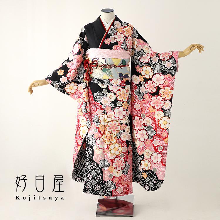 振袖 レンタル フルセット 正絹 着物 【レンタル】 結婚式 成人式 身長156-171cm 黒 bk-047