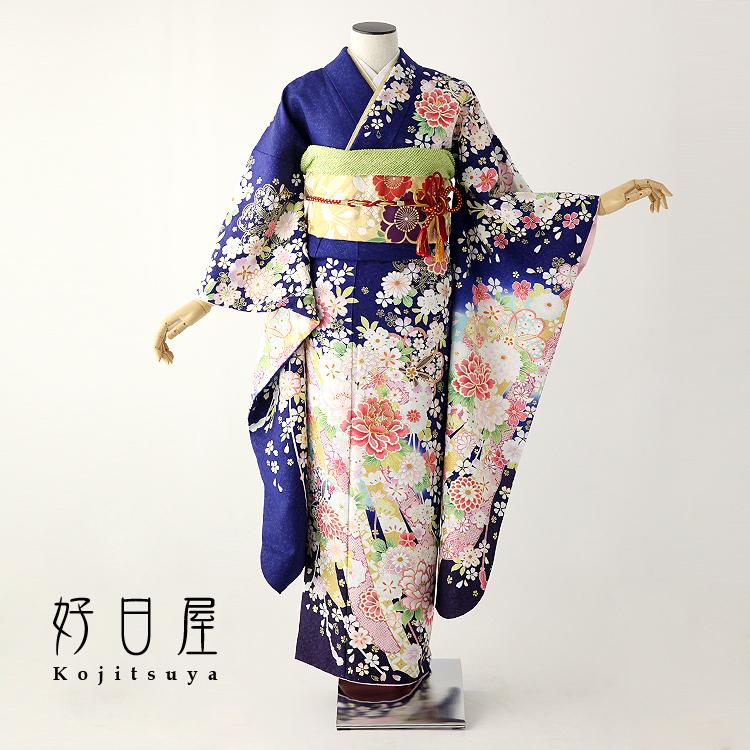 振袖 レンタル フルセット 正絹 着物 【レンタル】 結婚式 成人式 身長146-161cm 青 bl-020