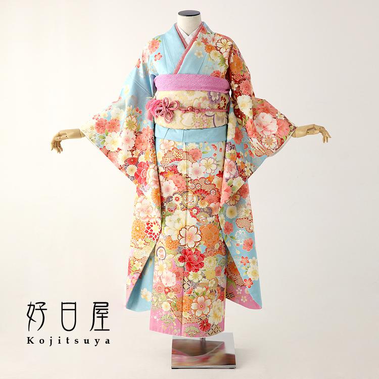 振袖 レンタル フルセット 正絹 着物 【レンタル】 結婚式 成人式 身長155-170cm 青 bl-022