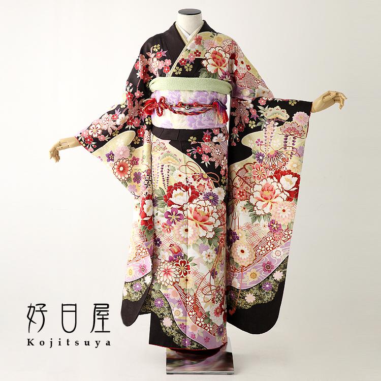 振袖 レンタル フルセット 正絹 着物 【レンタル】 結婚式 成人式 身長155-170cm 茶 br-010