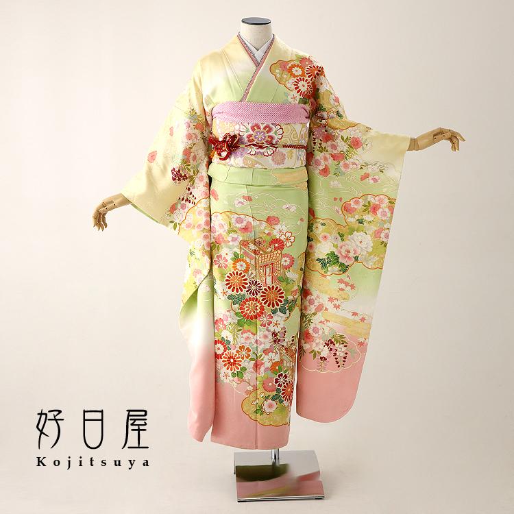 振袖 レンタル フルセット 正絹 着物 【レンタル】 結婚式 成人式 身長155-170cm 緑 gr-023-s