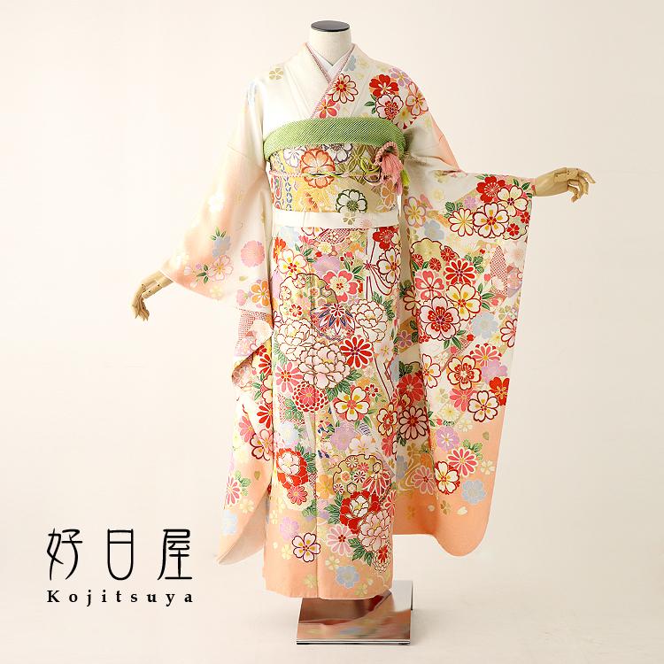 振袖 レンタル フルセット 正絹 着物 【レンタル】 結婚式 成人式 身長155-170cm オレンジ or-006-s