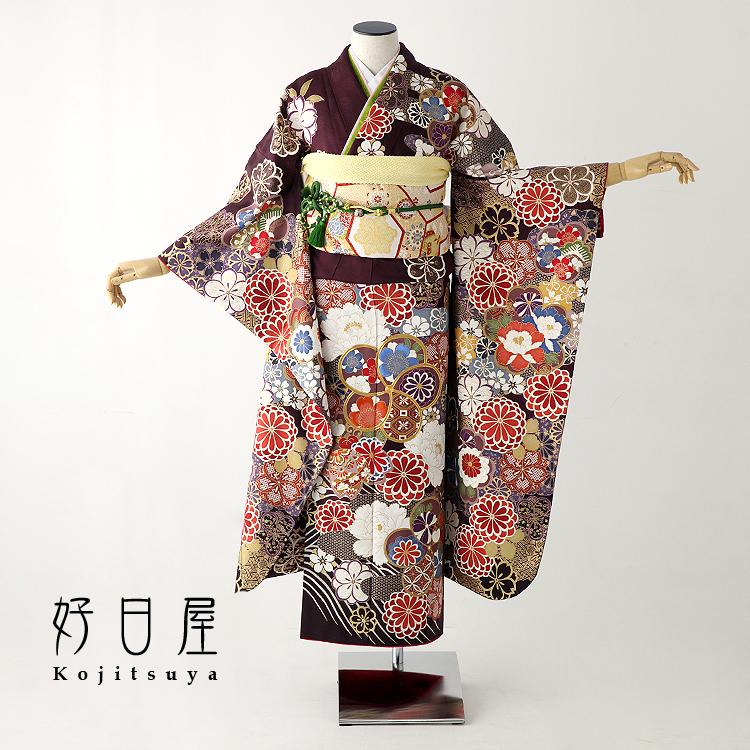 振袖 レンタル フルセット 正絹 着物 【レンタル】 結婚式 成人式 身長149-164cm 紫 pu-021-s