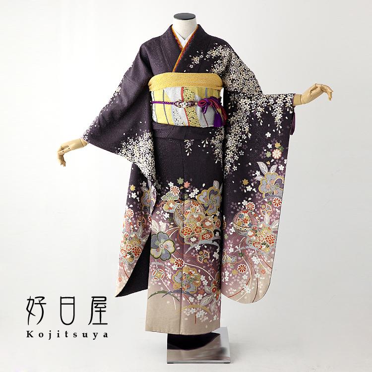 振袖 レンタル フルセット 正絹 着物 【レンタル】 結婚式 成人式 身長146-161cm 紫 pu-024-s