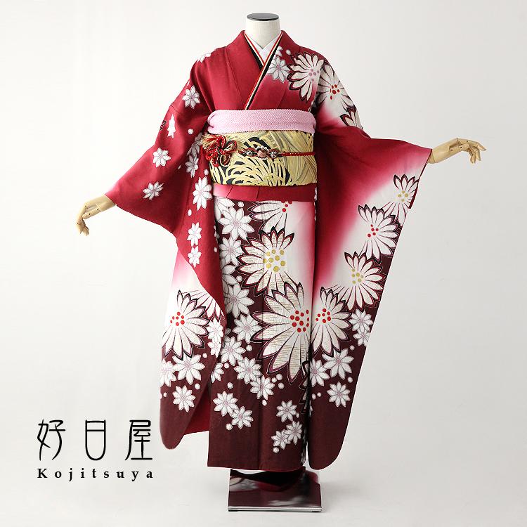 振袖 レンタル フルセット 正絹 着物 【レンタル】 結婚式 成人式 身長159-174cm 赤 re-045