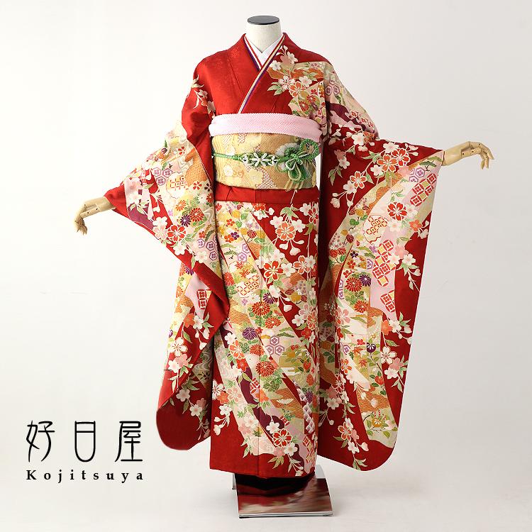 振袖 レンタル フルセット 正絹 着物 【レンタル】 結婚式 成人式 身長159-174cm 赤 re-046