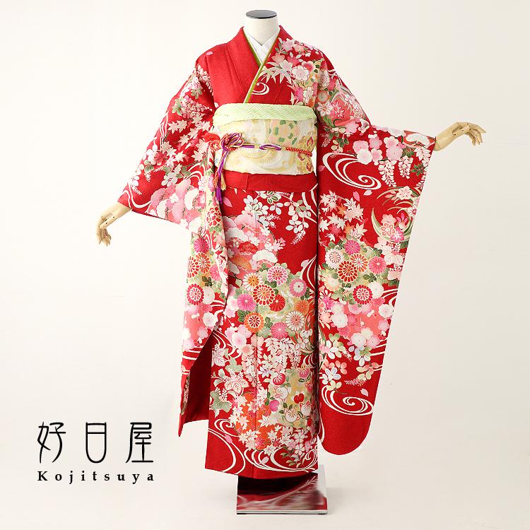 振袖 レンタル フルセット 正絹 着物 【レンタル】 結婚式 成人式 身長157-172cm 赤 re-053