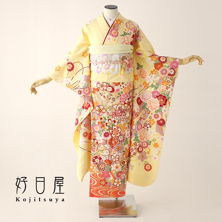 振袖 レンタル フルセット 正絹 着物 結婚式 成人式 身長157-172cm 黄 ye-011-s