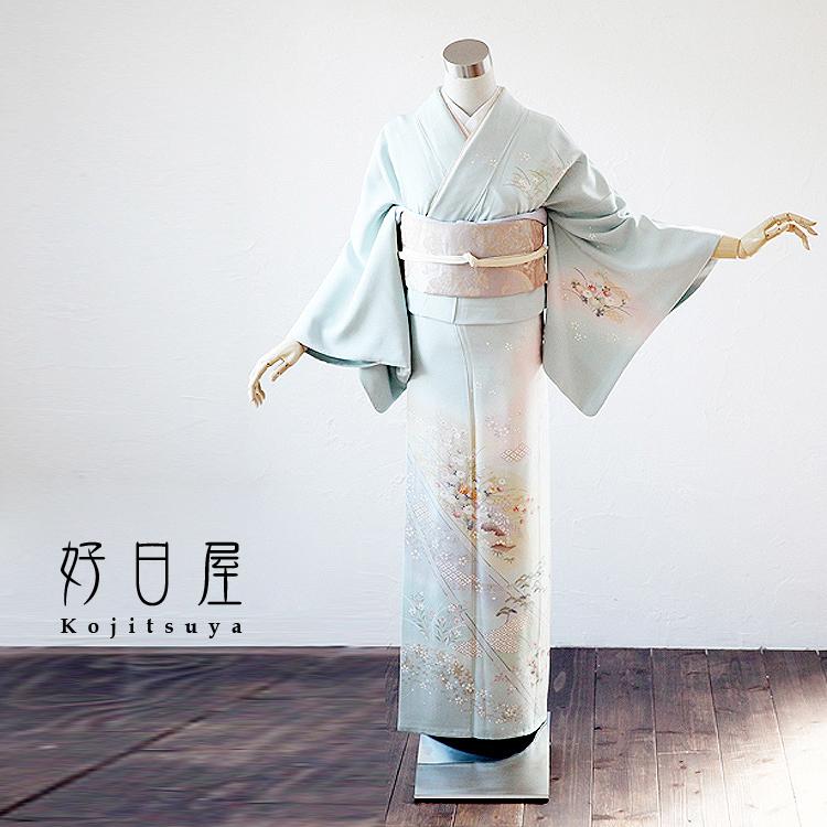 訪問着 レンタル フルセット 正絹 着物 結婚式 卒業式 入学式 七五三 身長148-163cm h-006