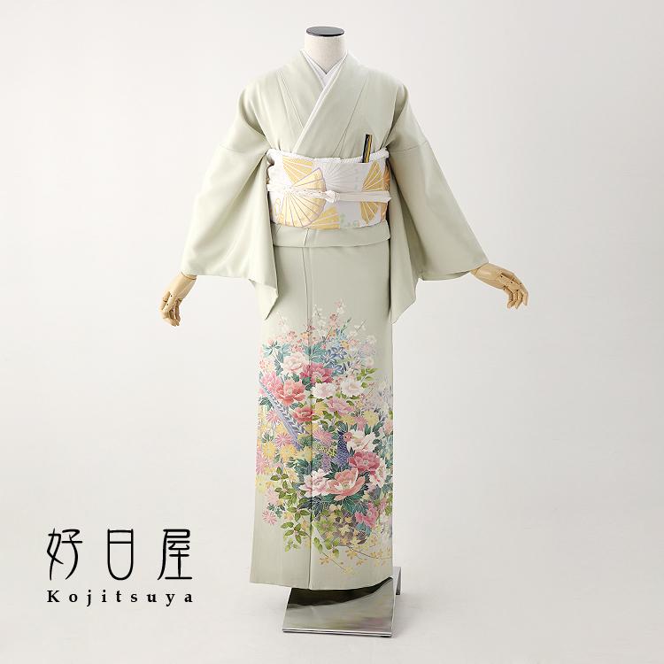 色留袖 レンタル フルセット 正絹 着物 結婚式 身長150-165cm 三つ紋 it-068