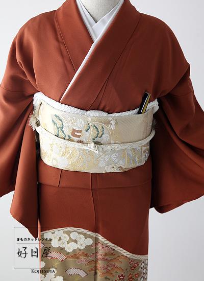 色留袖 レンタル フルセット 正絹 着物レンタル結婚式 身長151 166cm 三つ紋 it 0832HED9WI