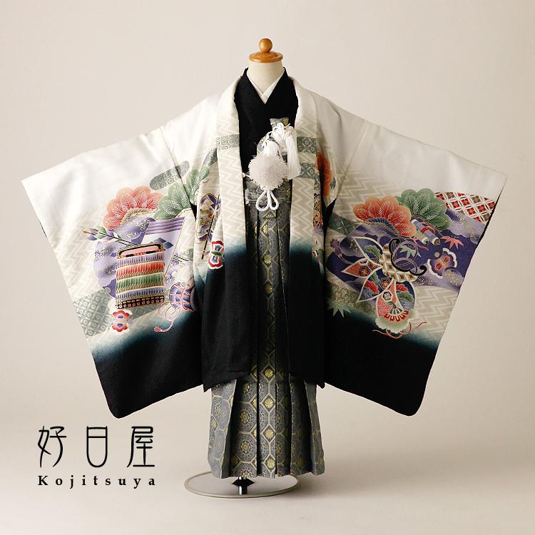 七五三 袴 男の子 着物 【レンタル】 レンタル 5歳 フルセット 子供 羽織 お宮参り 5-037