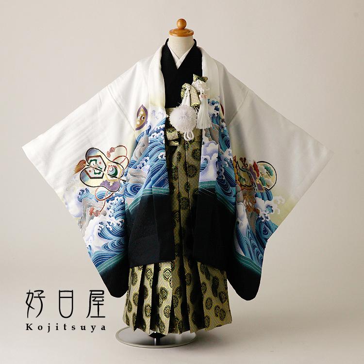 七五三 袴 男の子 着物 【レンタル】 レンタル 5歳 フルセット 子供 羽織 お宮参り 5-040