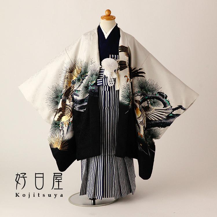 七五三 袴 男の子 着物 レンタル 5歳 フルセット 子供 羽織 お宮参り 5-041