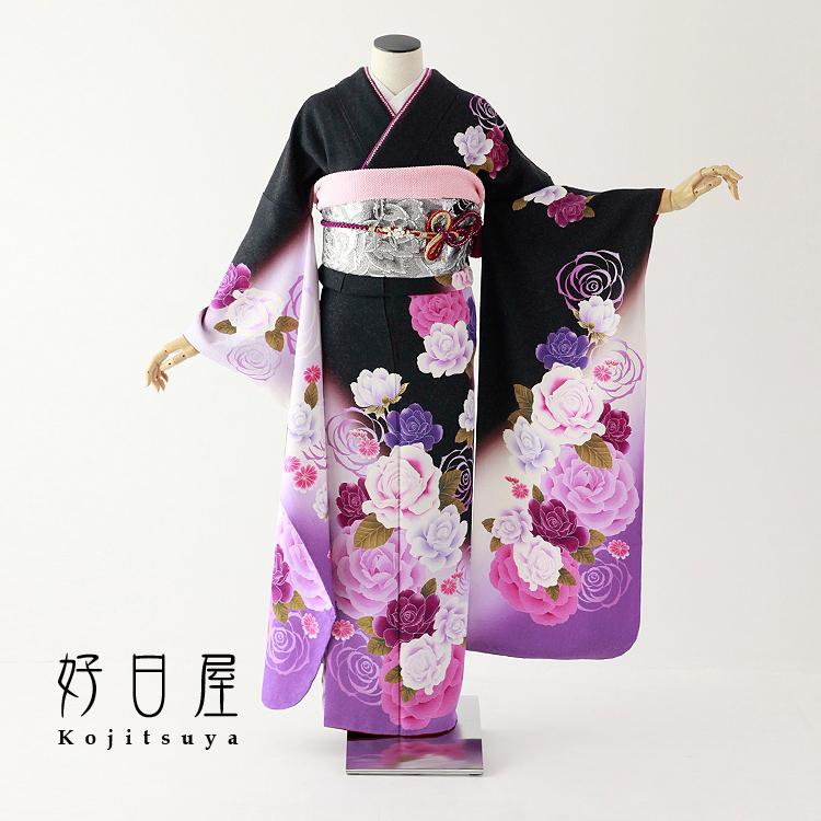 振袖 レンタル フルセット 正絹 着物 【レンタル】 結婚式 成人式 身長158-173cm 黒 bk-056