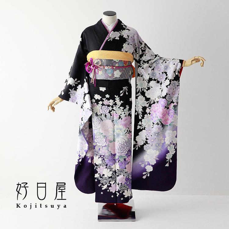 振袖 レンタル フルセット 正絹 着物 【レンタル】 結婚式 成人式 身長152-167cm 黒 bk-058-s