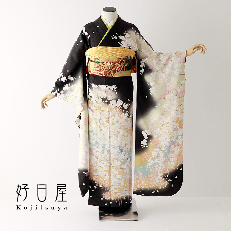 振袖 レンタル フルセット 正絹 着物 【レンタル】 結婚式 成人式 身長157-172cm 黒 bk-065-s