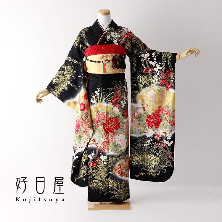振袖 レンタル フルセット 正絹 着物 【レンタル】 結婚式 成人式 身長157-172cm 黒 bk-069