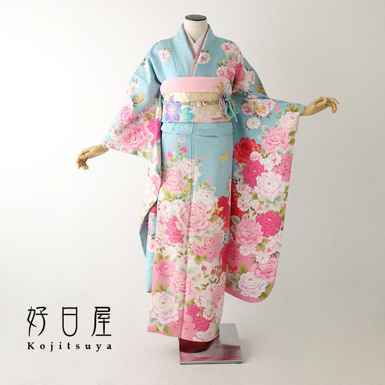 振袖 レンタル フルセット 正絹 着物 結婚式 成人式 身長148-163cm 青 bl-030