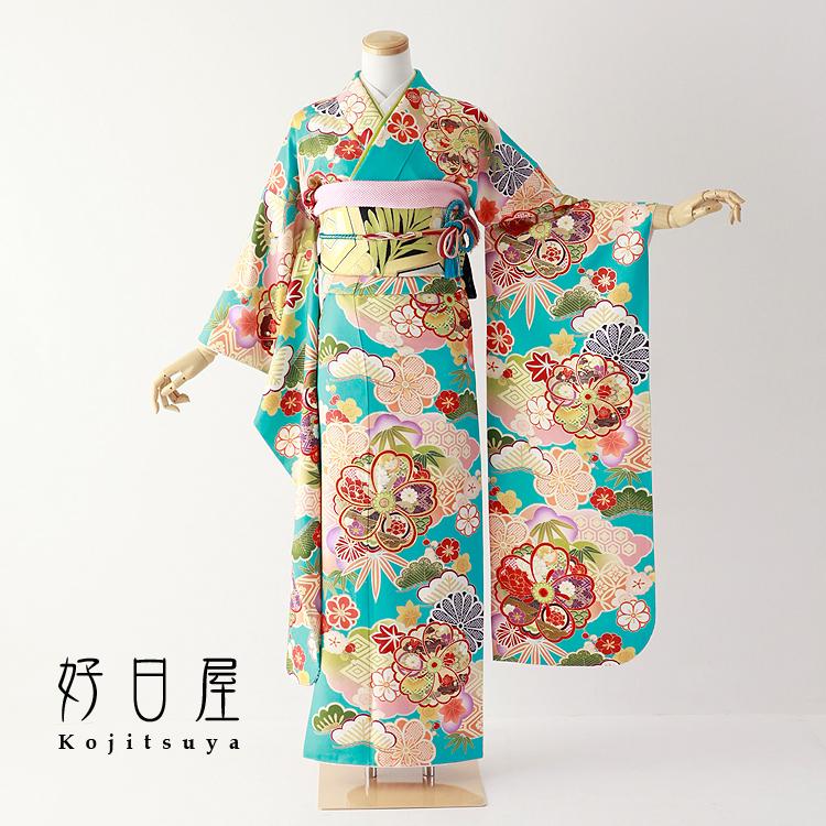 振袖 レンタル フルセット 正絹 着物 【レンタル】 結婚式 成人式 身長148-163cm 青 bl-038-s