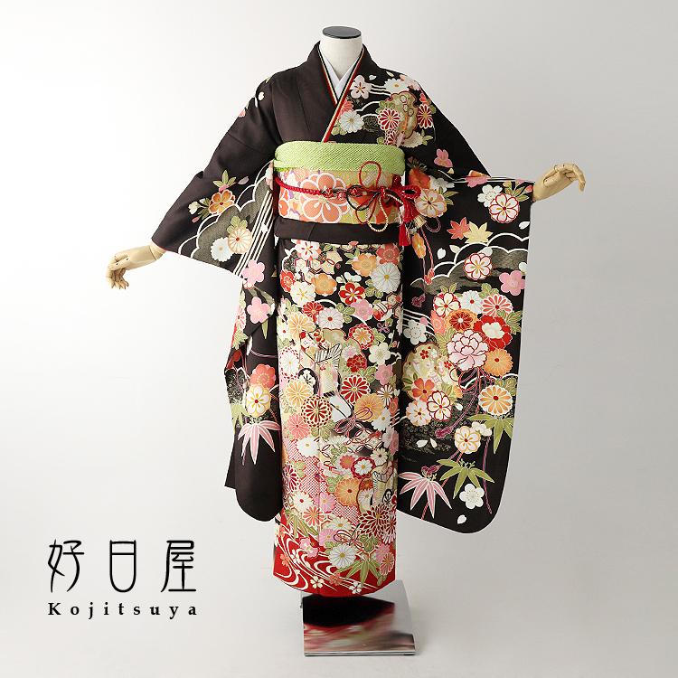 振袖 レンタル フルセット 正絹 着物 結婚式 成人式 身長145-160cm 茶 br-013