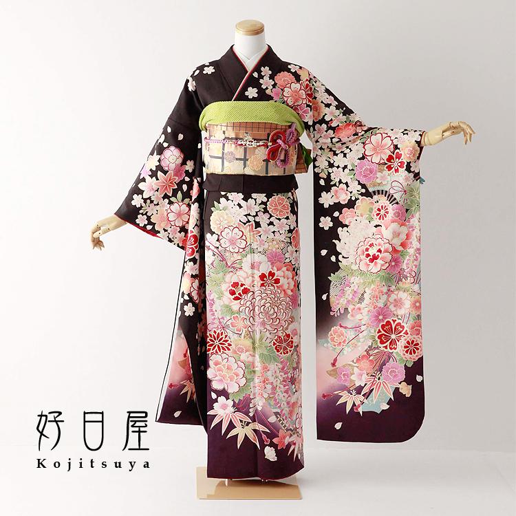振袖 レンタル フルセット 正絹 着物 【レンタル】 結婚式 成人式 身長157-172cm 茶 br-014-s