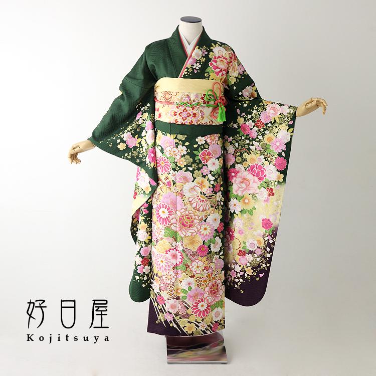 振袖 レンタル フルセット 正絹 着物 結婚式 成人式 身長160-175cm 緑 gr-028-s