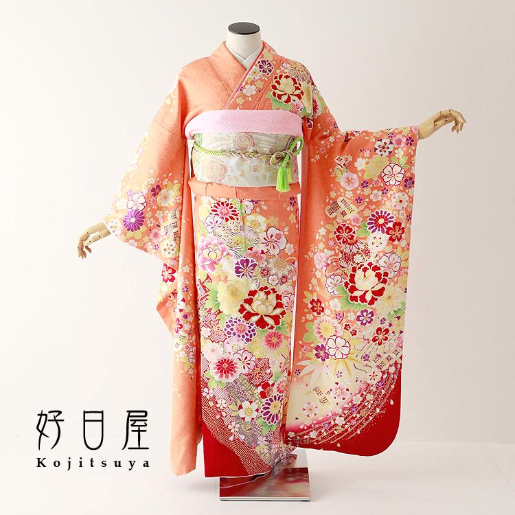 振袖 レンタル フルセット 正絹 着物 結婚式 成人式 身長157-172cm オレンジ or-015
