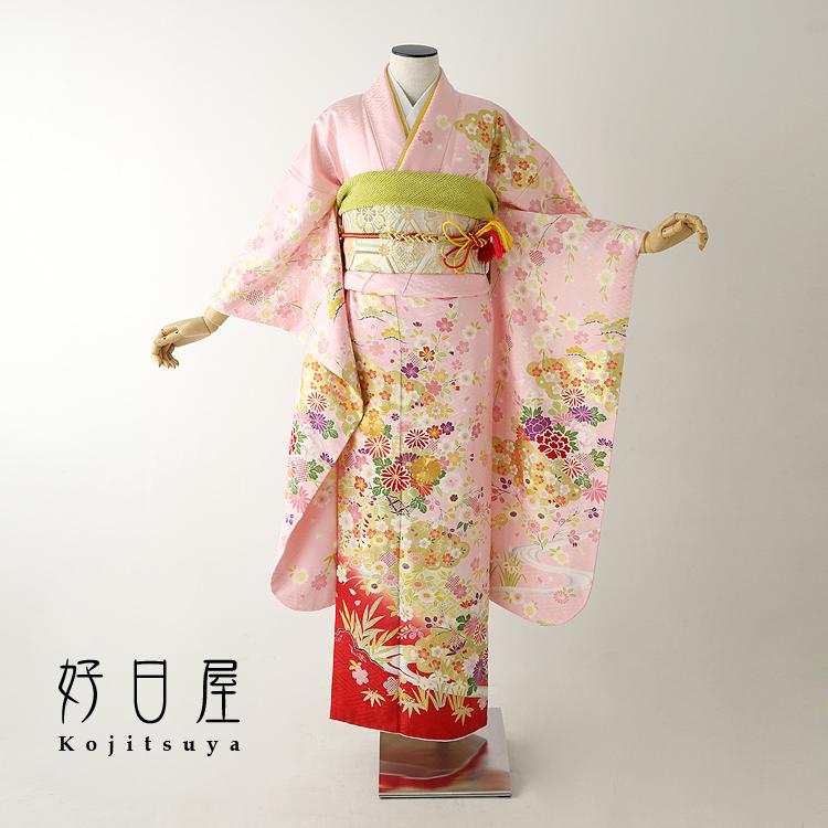 振袖 レンタル フルセット 正絹 着物 【レンタル】 結婚式 成人式 身長142-157cm ピンク pi-018