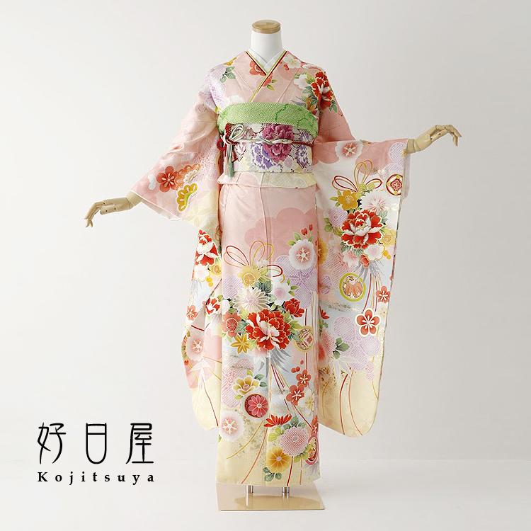 振袖 レンタル フルセット 正絹 着物 結婚式 成人式 身長153-168cm ピンク pi-020-s