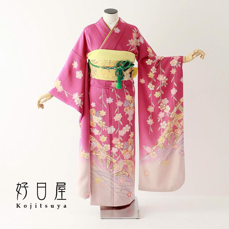 振袖 レンタル フルセット 正絹 着物 結婚式 成人式 身長150-165cm ピンク pi-025-s