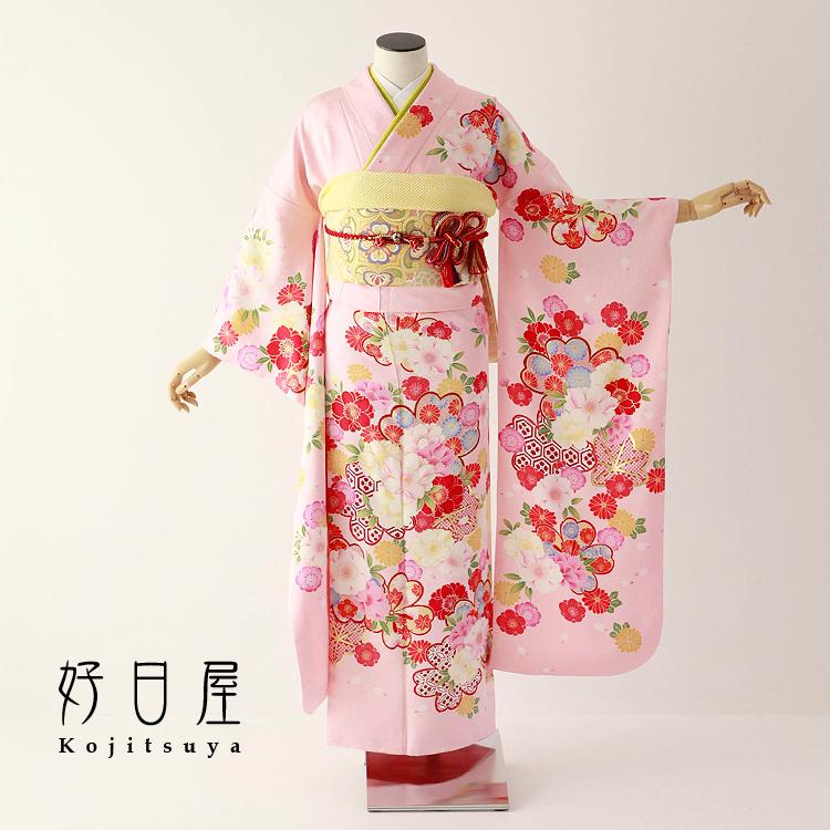 振袖 レンタル フルセット 正絹 着物 結婚式 成人式 身長150-165cm ピンク pi-027