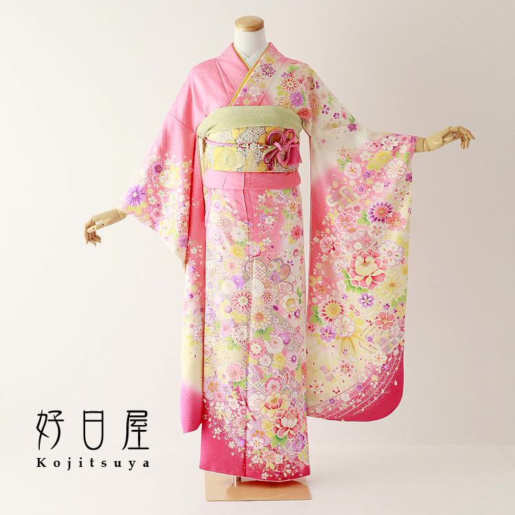 振袖 レンタル フルセット 正絹 着物 【レンタル】 結婚式 成人式 身長150-165cm ピンク pi-028-s