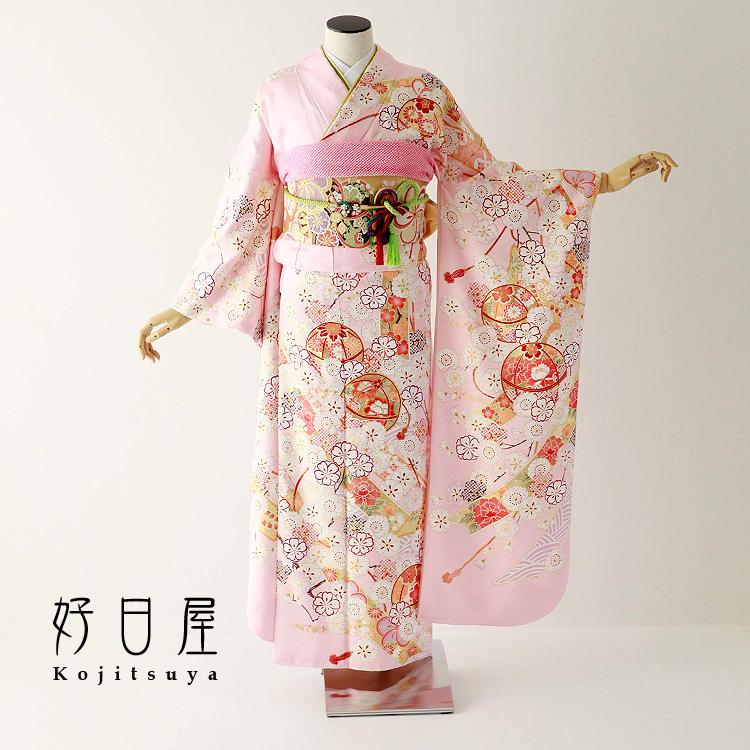 振袖 レンタル フルセット 正絹 着物 結婚式 成人式 身長152-167cm ピンク pi-029