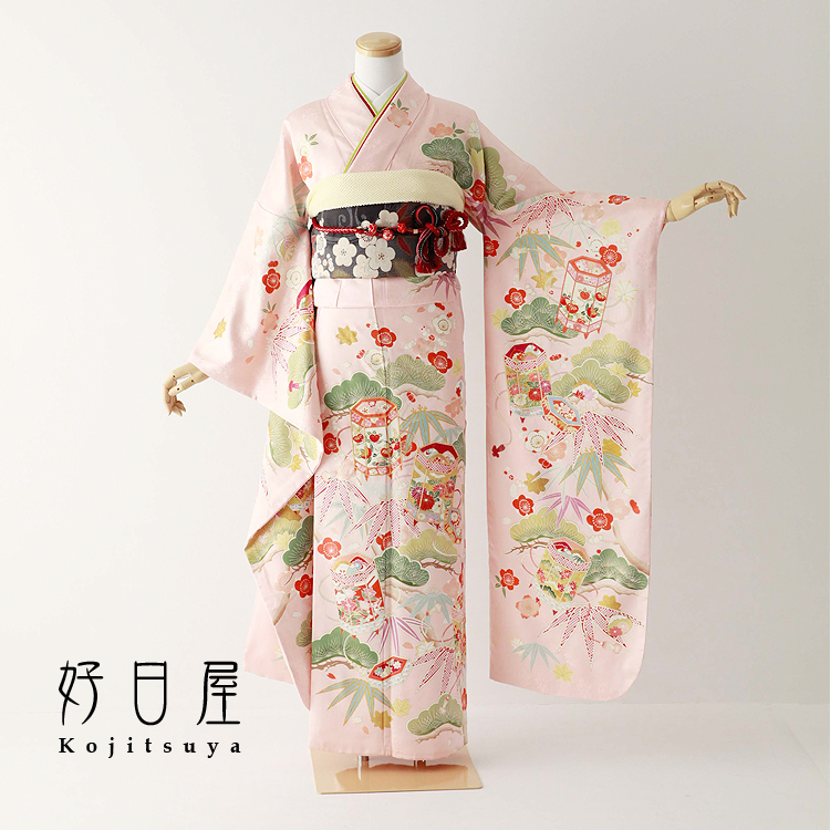 振袖 レンタル フルセット 正絹 着物 【レンタル】 結婚式 成人式 身長157-172cm ピンク pi-030-s