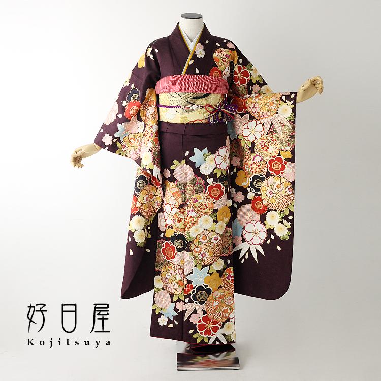 振袖 レンタル フルセット 正絹 着物 【レンタル】 結婚式 成人式 身長148-163cm 紫 pu-025