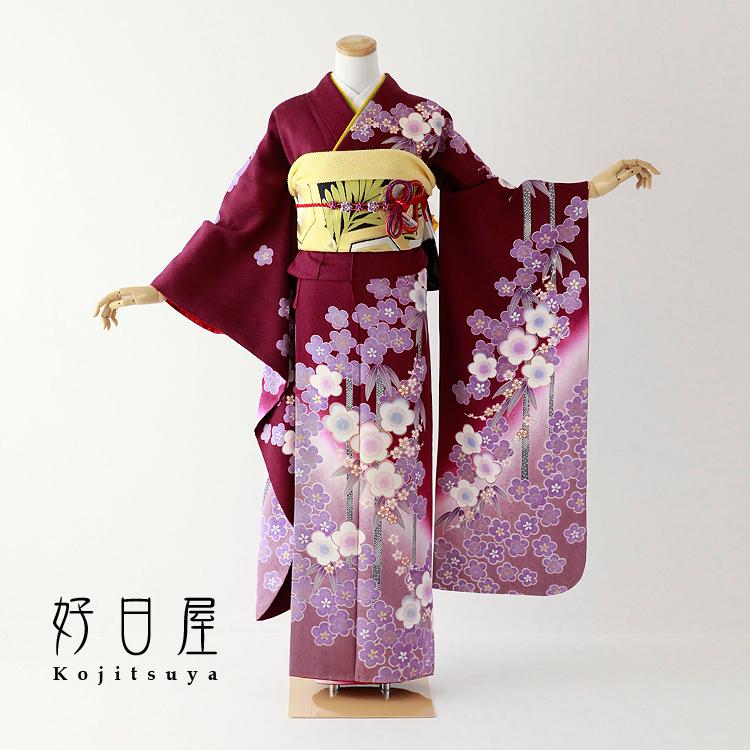 振袖 レンタル フルセット 正絹 着物 結婚式 成人式 身長158-173cm 紫 pu-028-s