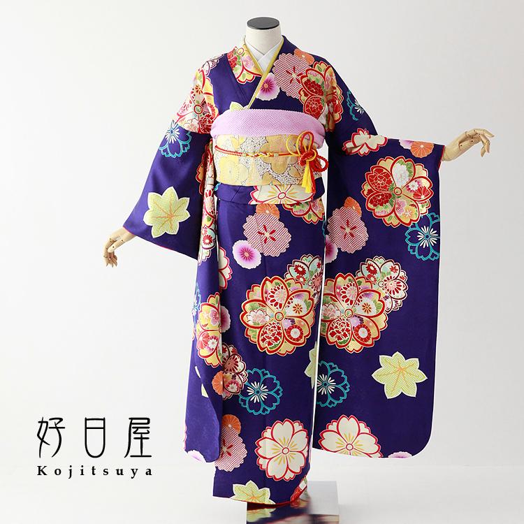 振袖 レンタル フルセット 正絹 着物 結婚式 成人式 身長147-162cm 紫 pu-029-s